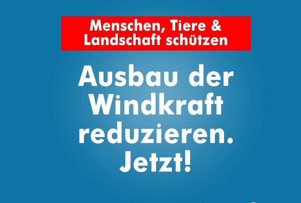 Den weiteren Ausbau der Windenergie lehnen wir ab